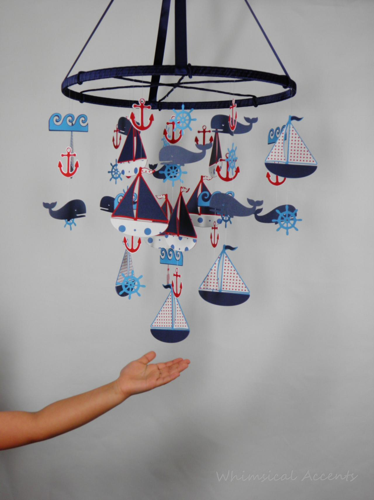 Nautical nursery mobile with sailboat anchor helm whale - Wall whale xl 20 swimming pool wall brush ...