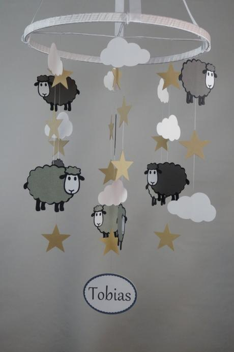 Sheep, Stars and Clouds Mobile in Grays, White and Light Brown with PERSONALIZED NAME