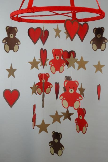 Teddy Bears, Hearts and Stars Mobile