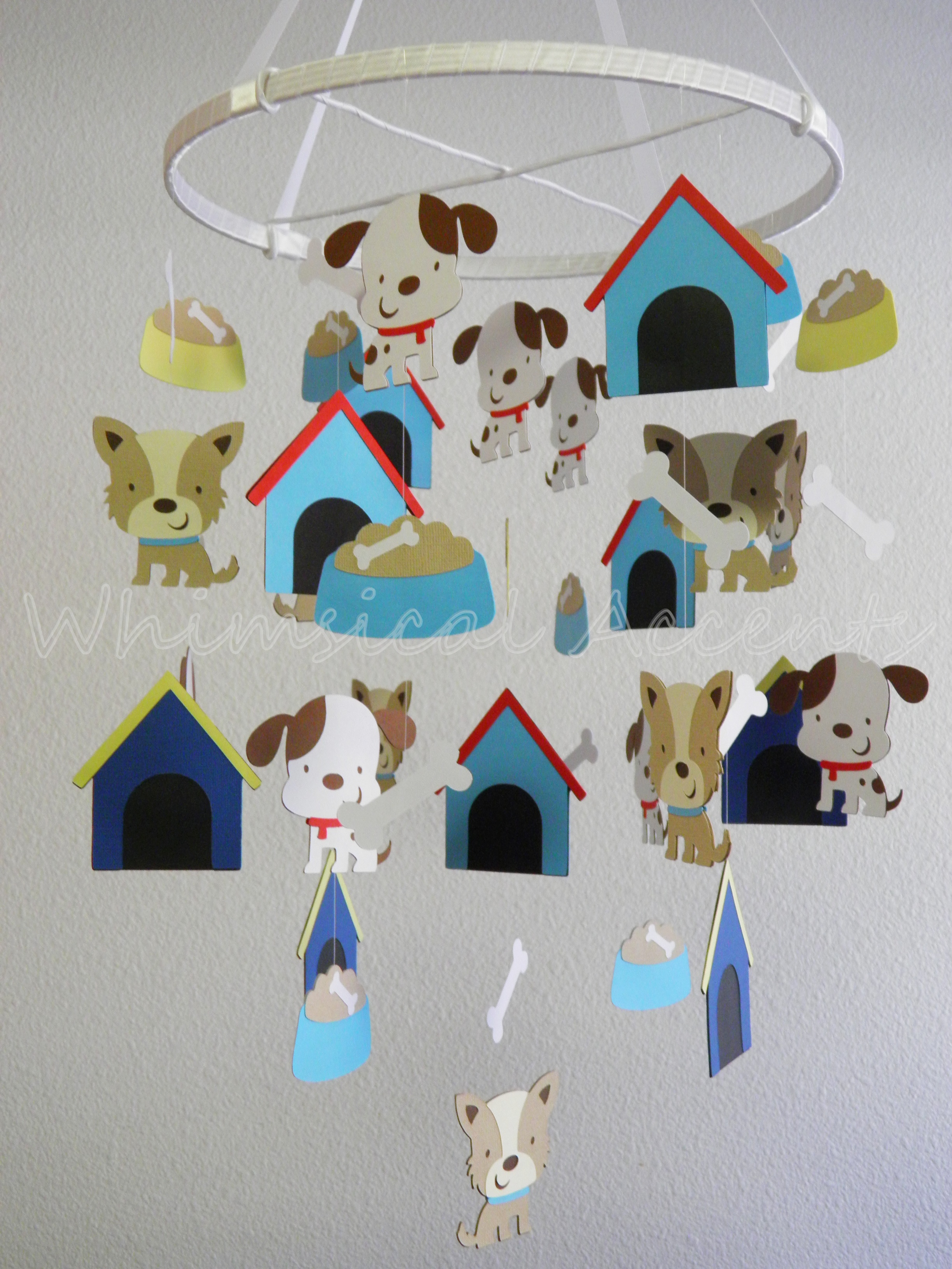 Classroom Mobiles Ideas ~ Puppy and bone baby paper nursery mobile on luulla