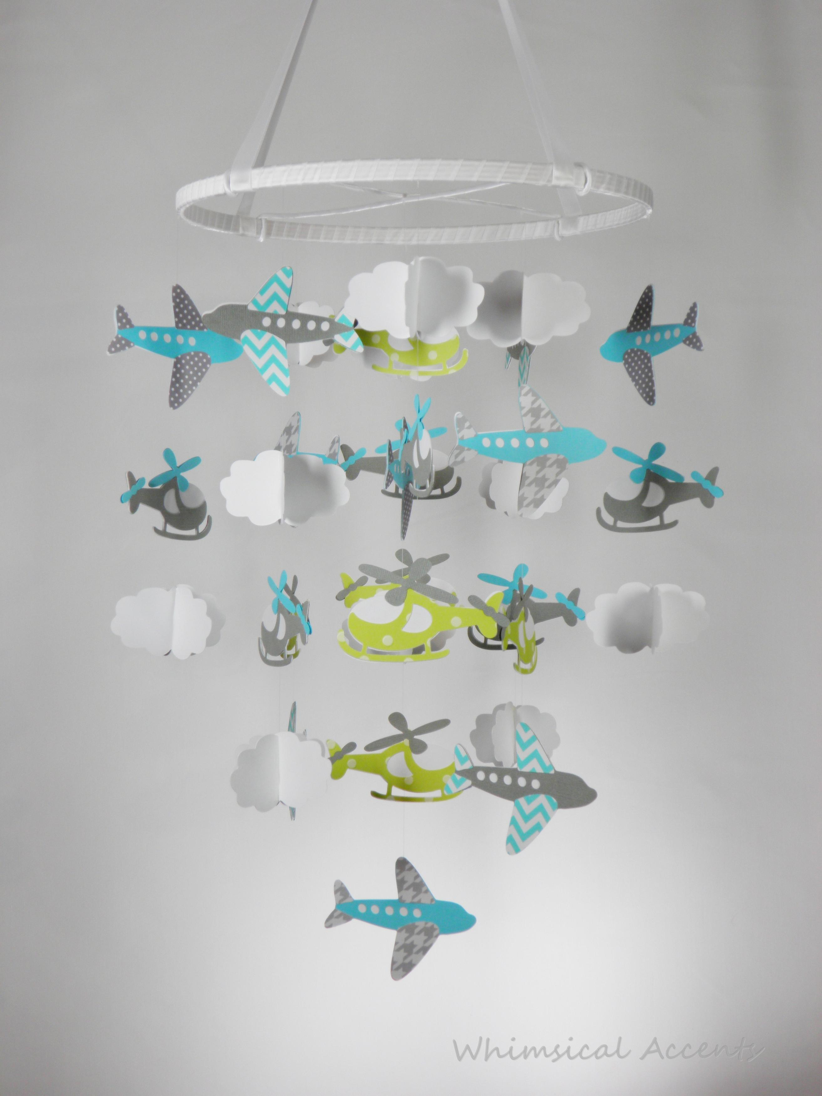 Airplane Helicopter And Cloud Baby Paper Nursery Mobile In Blue Green Gray